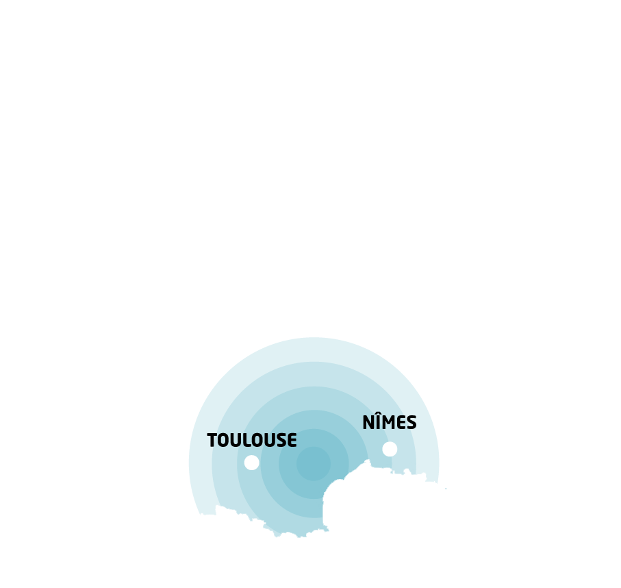 Carte France Occitanie Rayonnement AMS Grand sud